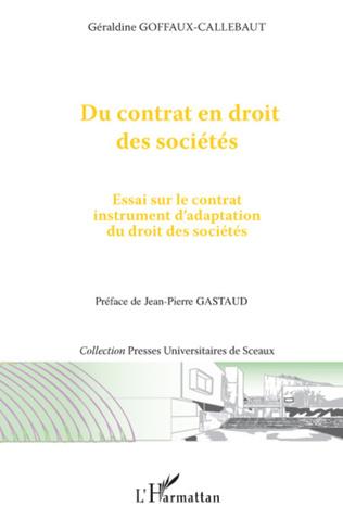 Couverture Du contrat en droit des sociétés