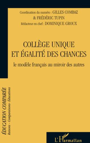 Couverture Le collège unique en question(s) Entretien avec Jean-Louis Derouet