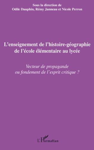 Couverture L'enseignement de l'histoire-géographie de l'école élémentaire au lycée