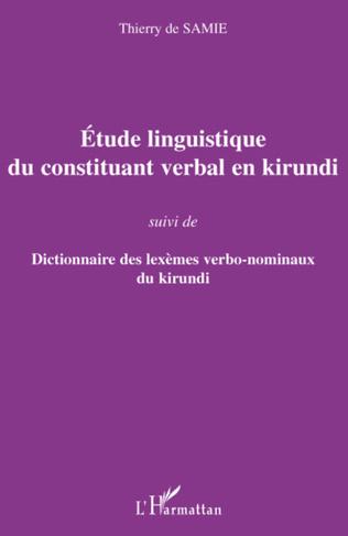 Couverture Etude linguistique du constituant verbal en kirundi