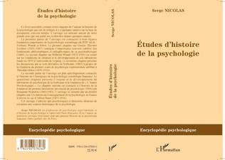 Couverture Etudes d'histoire de la psychologie