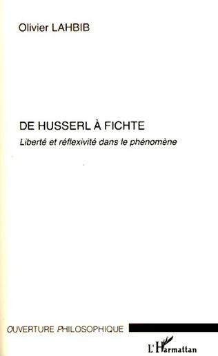 Couverture De Husserl à Fichte