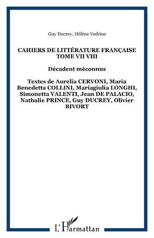 Couverture Cahiers de Littérature Française Tome VII VIII
