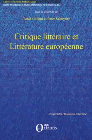 Couverture Critique littéraire et Littérature européenne