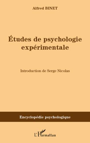 Couverture Etudes de psychologie expérimentale