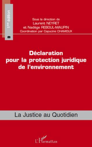 Couverture Déclaration pour la protection juridique de l'environnement