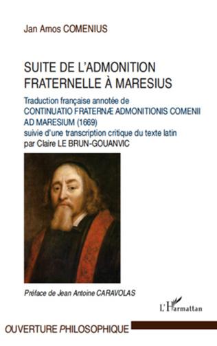 Couverture Suite de l'admonition fraternelle à Maresius