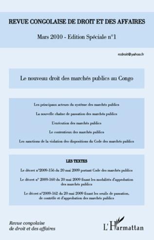 Couverture Le nouveau droit des marchés publics au Congo