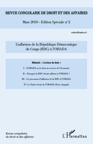Couverture L'adhésion de la République démocratique du Congo (RDC) à l'OHADA