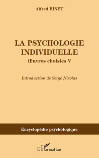 Couverture La psychologie individuelle