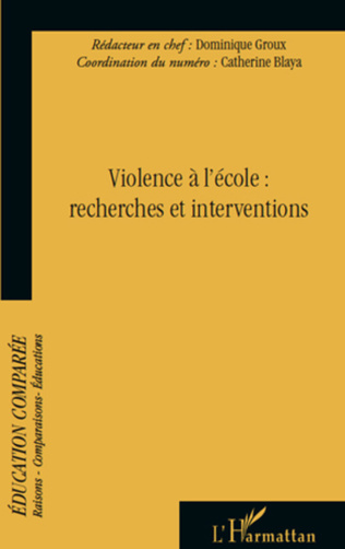 Couverture Violence à l'école : Recherches et interventions