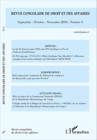 Couverture Revue congolaise de droit et des affaires N° 3