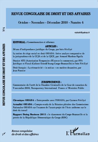 Couverture Revue congolaise de droit et des affaires N° 4
