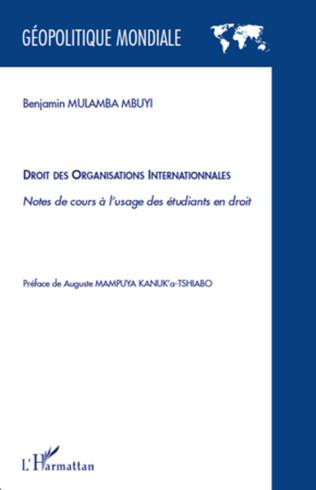 Couverture Droit des organisations internationales