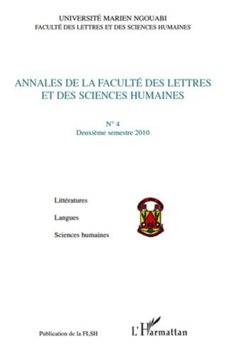 Couverture Annales de la Faculté des Lettres et des Sciences Humaines, n°4 - Deuxième semestre 2010