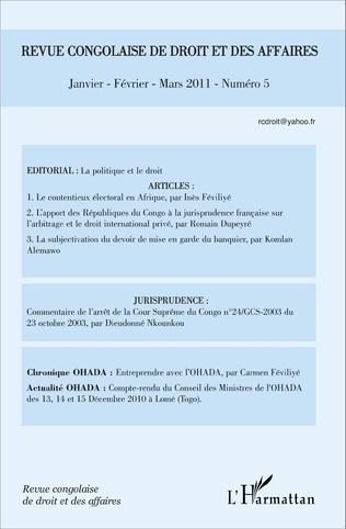 Couverture Revue congolaise de droit des affaires N° 5