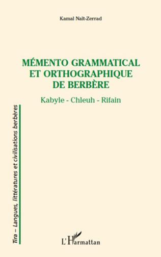Couverture Mémento grammatical et orthographique de berbère