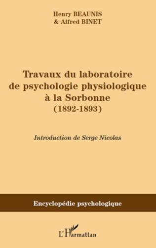 Couverture Travaux du laboratoire de psychologie physiologique à la Sorbonne (1892-1893)