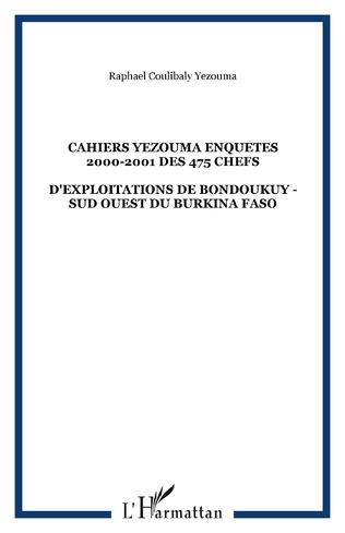 Couverture CAHIERS YEZOUMA ENQUETES 2000-2001 DES 475 CHEFS