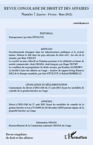 Couverture Revue congolaise de droit et des affaires