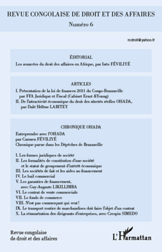 Couverture Revue congolaise de droit et des affaires n° 6