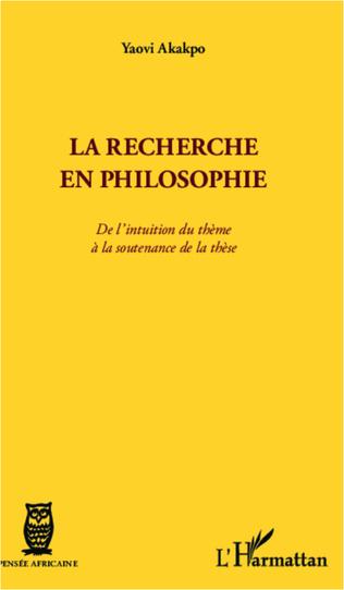 Couverture La recherche en philosophie