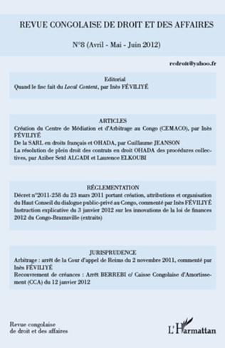 Couverture Revue congolaise de droit et des affaires 8