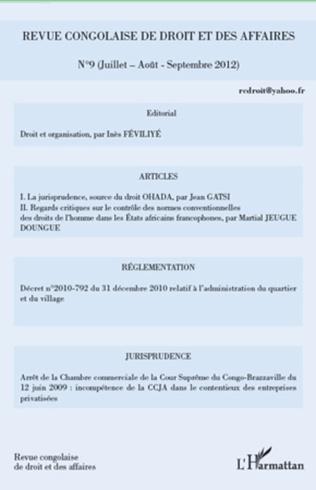 Couverture Revue congolaise de droit et des affaires n°9
