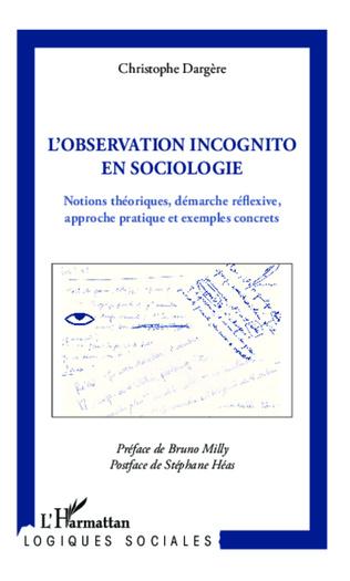 Couverture Observation incognito en sociologie