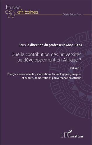 Couverture Quelle contribution des universités au développement en Afrique ? Volume II