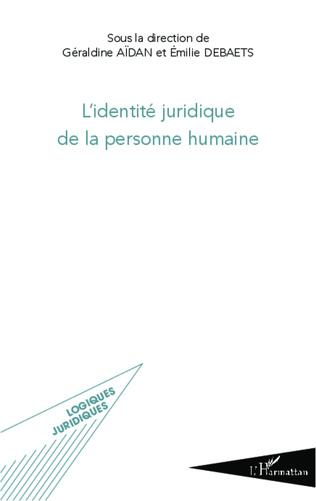 Couverture L'identité juridique de la personne humaine