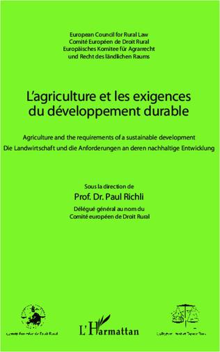 Couverture L'agriculture et les exigences du développement durable