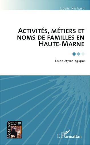 Couverture Activités, métiers et noms de famille en Haute-Marne