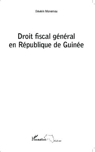 Couverture Droit fiscal général en République de Guinée