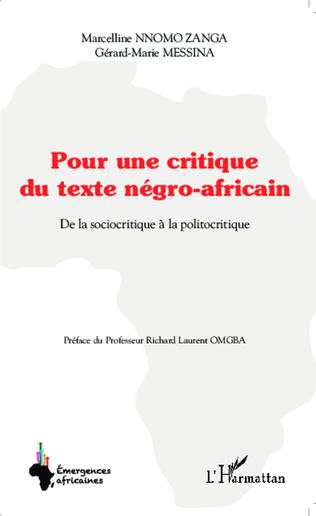 Couverture Pour une critique du texte négro-africain