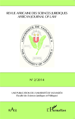 Couverture Revue Africaine des Sciences Juridiques n° 2/2014