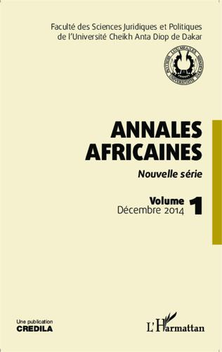 Couverture Annales africaines vol 1 décembre 2014