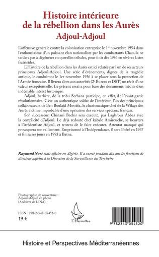 Couverture Histoire intérieure de la rébellion dans les Aurès