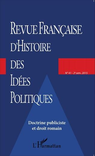 Couverture Revue française d'histoire des idées politiques - 41