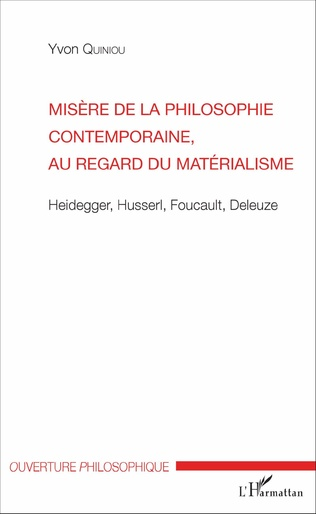 Couverture Misère de la philosophie contemporaine, au regard du matérialisme