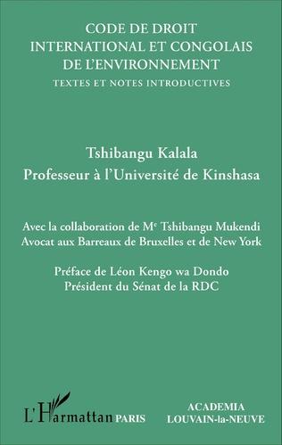 Couverture Code de droit international et congolais de l'environnement