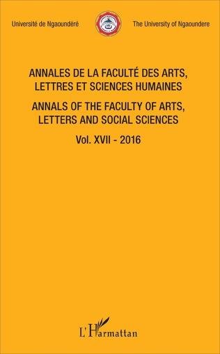 Couverture Annales de la faculté des arts, lettres et sciences humaines Vol XVII - 2016