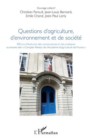 Couverture Questions d'agriculture, d'environnement et de société