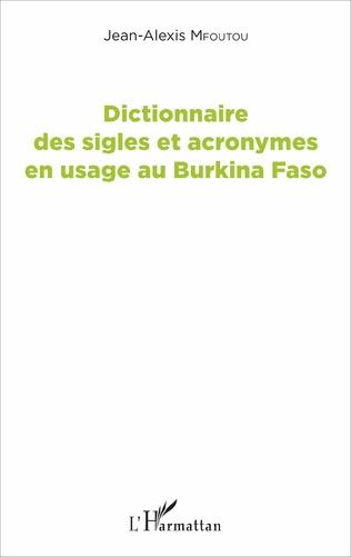 Couverture Dictionnaire des sigles et acronymes en usage au Burkina Faso