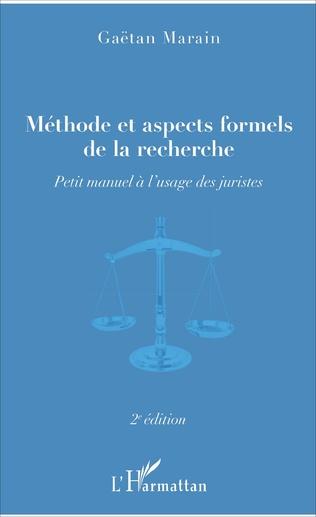 Couverture Méthode et aspects formels de la recherche