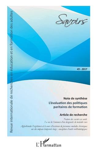 Couverture L'évaluation des politiques paritaires de formation