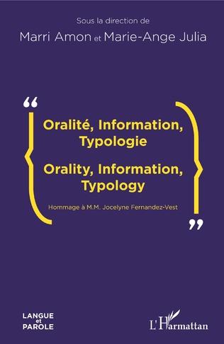 Couverture Oralité, Information, Typologie