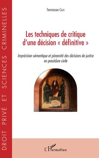 Couverture Techniques de critique d'une décision