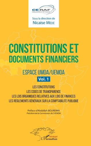Couverture Constitutions et documents financiers Vol 1 Espace UMOA/UEMOA