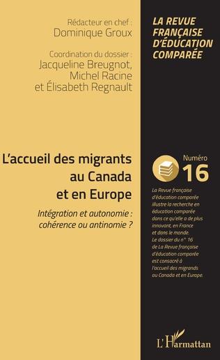 Couverture L'accueil des migrants au Canada et en Europe